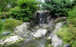 Waterfall at the Japanese garden. Logan got to practice Spanish and Japanese that day.