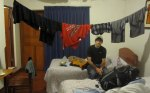 Our room in Peru, provided by Ronaldo. Kacey did laundry, so the clothes are drying... not. We had wet clothes for 3 days.